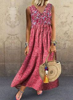 Cotton Blends General Red Day Dresses Casual Spring Maxi Summer A-line Dress Floral Sleeveless S M L XL XXL Peasant Ruffles Camisole Neckline Dress Plus Size Spring Dresses, Casual Dresses Plus Size, Spring Dresses Casual, Elegant Dresses, Dress Casual, Mode Outfits, Dress Outfits, Casual Outfits, Fashion Dresses