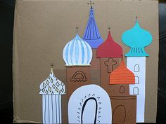 Having Fun at Home: 3 Russian Crafts for Kids including dome templates for kids to design Russian buildings. My advice for making dome templates; fold them in half while cutting to achieve symmetry.