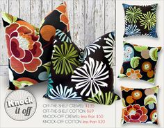Designer Pillow Knock-Offs with Fairfield: The Classic Square x2-Crewel & Cotton