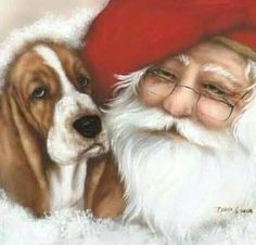 Santa and his Basset. Need to substitute a Dalmatian in this painting and it would be perfect.