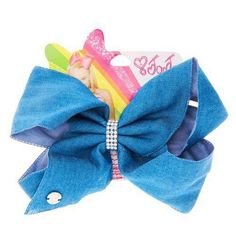 Style it out with this Jojo Siwa Denim hair bow with Rhinestone keeper, the bow comes attached to a metal salon clip making it eay to wear. Jojo Hair Bows, Blue Hair Bows, Jojo Bows, Denim Blue Hair, Khloe Hair, Girls Nail Designs, Jojo Siwa Bows, Jojo Siwa Birthday, Birthday Wishes For Myself