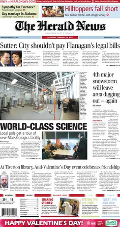The front page of The Herald News for Saturday, Feb. 14, 2015.