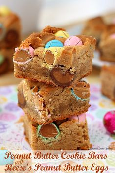 Peanut butter cookie bars with Reese's peanut butter eggs. Easter