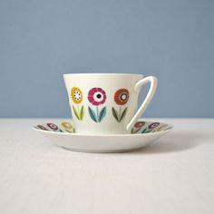 Vintage Upsala Ekeby Ignis Bellis Cup and Saucer by MidModMomStore, $35.00