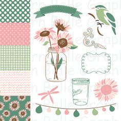 Clipart//Digital Paper//9 images//5 Papers//Digital Scrapbooking//Country//Pink & Green//Pink Sunflowers//Mason Jar Art//INSTANT DOWNLOAD