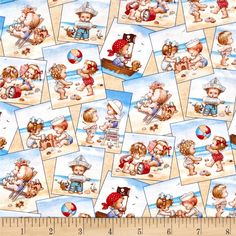 Beach Kids Postcards Cream from @fabricdotcom Its the art of Ruth Moreland an Illustrator. Designed by AMI! Morehead for Elizabeth's Studio, LLC., this cotton print is perfect for quilting, apparel and home décor accents. Colors include black, brown, periwinkle, red, pink, grey, peach, blue, sand, ivory, cream and navy.