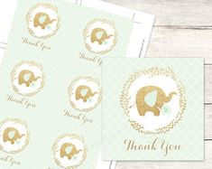 mint gold elephant baby shower favor tags by posypaperprintables