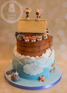 Noah's Ark Christening Cake A sweet Noah's Ark themed christening cake Baby Cakes, Baby Shower Cakes, Cupcake Cakes, Cupcakes, Noahs Ark Cake, Noahs Ark Party, Noahs Ark Theme, Noahs Arc, Animal Cakes