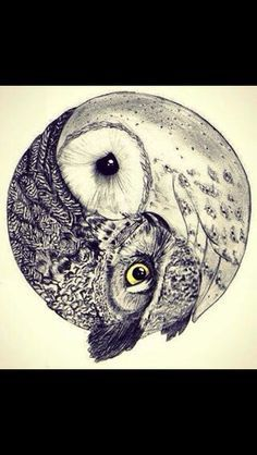 Ying yang tattoo would love to have one side a wolf and owl... Something to represent my grandparents