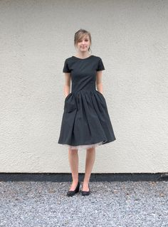Little Black Organic T Shirt Dress with satin binding. Made to order in the U.K. on Etsy.