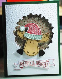 Christmas card from Jenny Creer (Independent Stampin Up Demonstrator. Used SU Jolly Friends Stamp set and Softly Falling embossing folder.