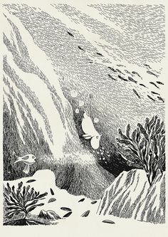 Moomin illustration by Tove Jansson Tove Jansson, Les Moomins, Moomin Books, Art Manga, Tinta China, Children's Book Illustration, Art Inspo, Art History, Line Art