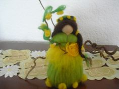 OOAK 7 inch hand made needle felted doll fairy SUMMER BUTTERCUP Waldorf. $25.00, via Etsy.