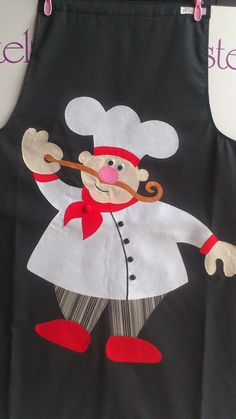 …How cute this chef would look on kitchen linens… Aplique cocinero…ADORABLE!…How cute this chef would look on kitchen linens and cushions. Sewing Appliques, Applique Patterns, Applique Quilts, Applique Designs, Embroidery Applique, Quilt Patterns, Machine Embroidery, Embroidery Designs, Sewing Patterns