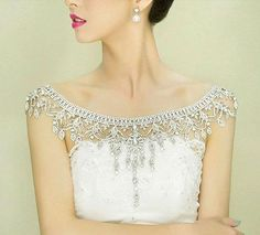 An elegant crystal shoulder necklace from AlexBlackwellBridal via etsy #shouldernecklace #weddingjewelry