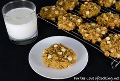 Pumpkin-Oatmeal Cookies with White Chocolate Chips. Bake longer than the minimum and don't bother dividing the chips. Wow.