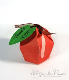 Instant Download  Apple RED Printable Favor Box por PaperArtbyMC, $4.20