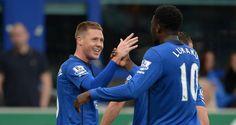 James McCarthy of Everton celebrates scoring the opening goal against Newcastle