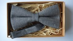 Grey Linen Bow Tie / Gray Linen Bow Tie / Wedding Bow Tie / Unique Bow Tie For All Sizes  / Groom bowtie / Linen bow tie / Pre-tied bow by ArtOfLithuania on Etsy