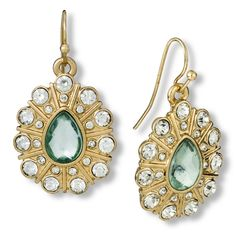 Women's Teardrop Earring with Center Stone - Mint/Gold