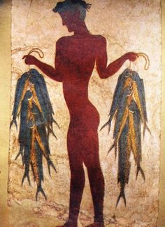 Fresco of the Fisherman from Akrotiri, now in a museum. Ancient Akrotiri - Santorini, Greece