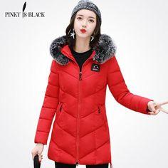 Pinky Is Black Coats & Jackets 2017 Female Parkas Hooded Winter Jacket Women Large Fur Collar Winter Coat Women Zipper Outwear