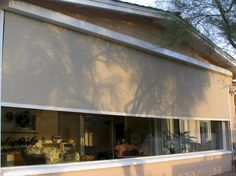 Offering custom roller shades in Phoenix metro area which provide wonderful benefits of stationary sunscreens, but with the flexibility of being able to roll them up and down as needed. Patio Blinds, Shades Blinds, Roller Shades, Exterior, Sunroom, Shutters, Phoenix, Outdoor Decor, Gadgets