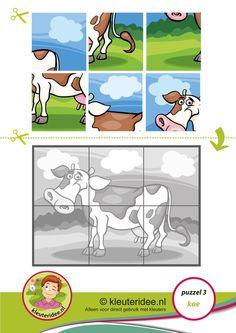 3. Puzzel koe, kleuteridee, thema boerderij, Preschool cow puzzle, free printable.