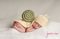 My favorite!!!  Snail Hat and Body Cover Newborn Photography Prop. $35.00, via Etsy.