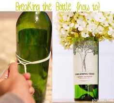 How to cut a bottle without using a glass cutter. @Katie Mae I am not sure about this cutting method, but this may be a good way to get many matching vases for centerpieces without spending a ton - you could take off the labels too if you wanted.  The top edge would be sharp would be the only concern - maybe cover it???
