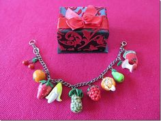Polymer Clay Fruit Bracelet- Handmade Clay Fruit Jewelry- Fruits Polymer Clay- Summer Colorful Polymer Clay Bracelet