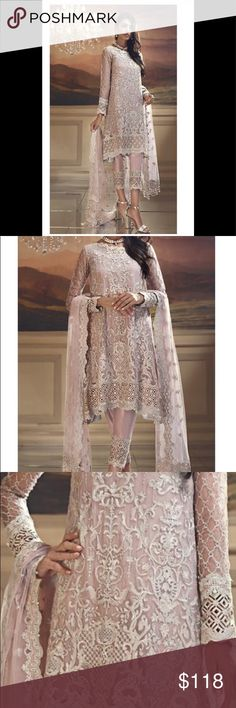 aa5173cc58 Indian pAkistani Embroidered women dress Unstitched fabric of women salwar  kameez net and chiffon embroidered with. Poshmark