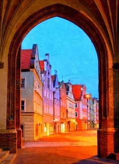 Old town City Scape Urban painting Original by Mytinypaintings, $55.00