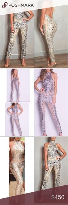 "Rhinestone Statement Party Formal Jumpsuit Romper Super amazing party or special occasions Rhinestones embellished halter Neck Jumpsuit in size medium, but fits more like a small. Some stretch to the bodysuit. Worn once only for a dinner. Some minor missing beads but nothing too noticeable. Hidden back zipper. In a nude and gold color, not see through. Measure about 54"" without the neck part, 28.75"" inseam, about 13"" rise, 13.5"" pit to pit. Backless. Lined. The nude mesh has a lot of stretch…"
