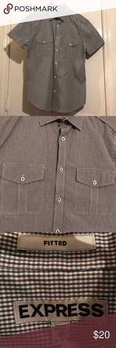 Express fitted button up Short sleeved button up, worn once and in excellent condition. Fitted Express Shirts Casual Button Down Shirts