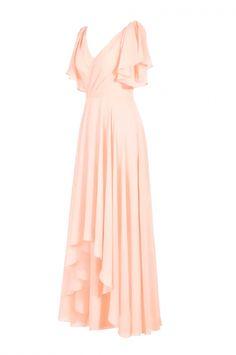 Simple blush pink v-neck short sleeveless chiffon prom dress high low bridesmaid dress - High Low Bridesmaid Dresses, Grad Dresses Short, Bridesmaid Dresses Online, Prom Party Dresses, Homecoming Dresses, Sexy Dresses, Evening Dresses, Lace Prom Gown, Tea Length Dresses