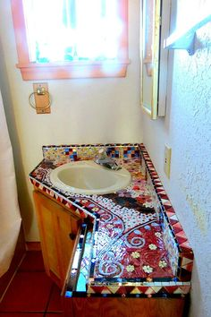 Stained Glass Mosaic Bathroom Vanity by dannimacstudios on Etsy Mosaic Bathroom, Mosaic Wall, Mosaic Tiles, Stone Mosaic, Mosaic Glass, Stained Glass, Mosaic Crafts, Mosaic Projects, Mosaic Furniture