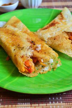 Vegetable masala dosa: Crispy dosa with spicy veggie masala stuffing. | cookclickndevour.com #vegetables #indianfood