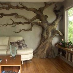 Cob house tree wall - imagine this replacing fireplace!!!