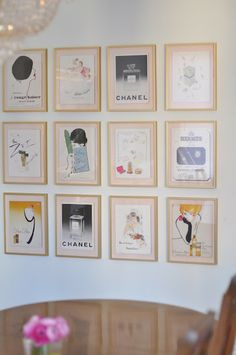 amazing gallery wall of vintage fashion prints, @Shannon Darrough