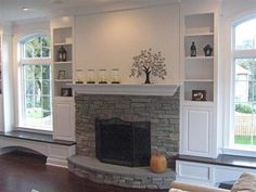 fireplace, built in shelves and benches