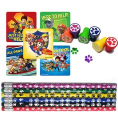 paw patrol stickers, pencils, and stamps