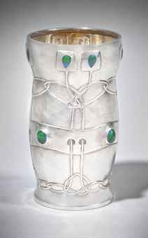 "Archbald Knox (Attributed) - For Liberty & Co. - Vase. Sterling Silver and Enamel. Circa 1903. 4-1/4""."