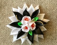 Pale Pink & White Kanzashi Flower HAIR BARRETTE