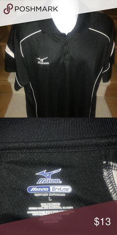 Mizuno DryLite wicking casual golf polo shirt - L Sharp men's Mizuno DryLite wicking casual golf polo shirt that is sized large.  Mizuno logo on the chest.  Perfect gently used condition.  Terrific style and quality. Mizuno Shirts Polos