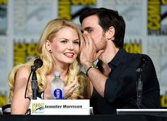 Colin O'Donoghue -Killian Jones - Captain Hook and Co Star Jennifer Morrison - Emma Swan on Once Upon A Time- The 'Once Upon A Time' Panel at Comic-Con International 2015 - Zimbio Colin O'donoghue, Jennifer Morrison, Once Upon A Time, Dark Swan, Ouat Cast, Princess Merida, Hook And Emma, Perfect Together, Captain Hook