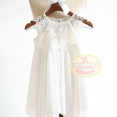 Boho Beach Hi Low Ivory Lace Chiffon Flower Girl Dress Junior Bridesmaid Wedding Party DressF0026 ONSALE by MonbebeLagos on Etsy