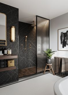 From mood board to final look. Here we bring the 'Modern Classic' vision of to life, by showing you how versatile our bathroom wall panels can be. This is the ultimate walk in shower. Black Marble Bathroom, Small Bathroom, Bathroom Ideas, Marble Bathrooms, Master Bathroom, Waterworks Bathroom, Shiplap Bathroom, Bathroom Plants, Boho Bathroom