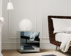 Another view of the same mirrored nightstand