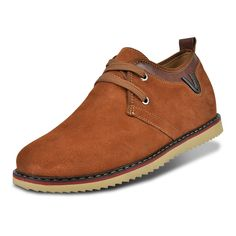 TopoutShoes - Brown suede leather elevator casual shoes get taller 6.5cm / 2.56inches for cheap sale at Topoutshoes